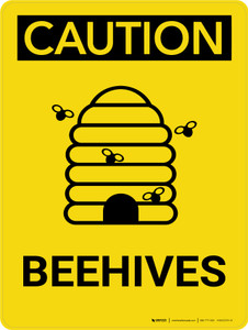 Caution: Beehives Portrait With Icons - Wall Sign