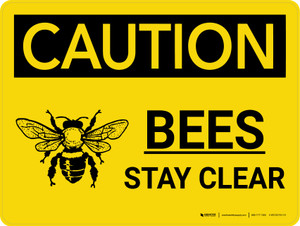 Caution: Bees Stay Clear Landscape With Icon - Wall Sign