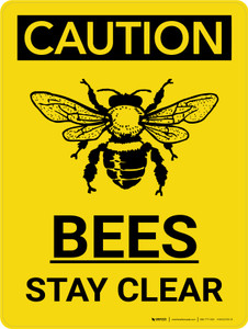 Caution: Bees Stay Clear Portrait With Icon - Wall Sign