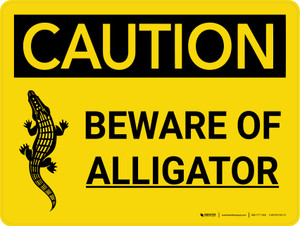Caution: Beware of Alligator Landscape With Icon - Wall Sign