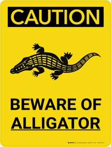 Caution: Beware of Alligator Portrait With Icon - Wall Sign