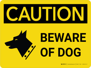 Caution: Beware of Dog Landscape with Icon - Wall Sign