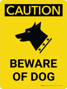 Caution: Beware of Dog Portrait with Icon - Wall Sign
