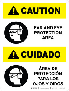 Caution: Ear and Eye Protection Area Portrait Bilingual Spanish with Icon - Wall Sign