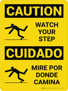 Caution: Watch Your Step Bilingual Spanish with Icons - Wall Sign