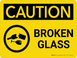 Caution: Broken Glass Landscape With Icon - Wall Sign