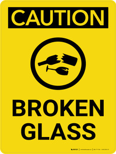 Caution: Broken Glass Portrait With Icon - Wall Sign