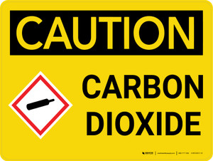 Caution: Carbon Dioxide Landscape With Icon - Wall Sign