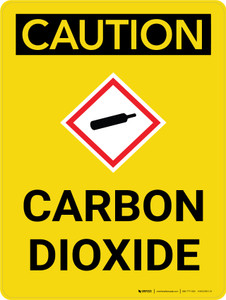 Caution: Carbon Dioxide Portrait With Icon - Wall Sign