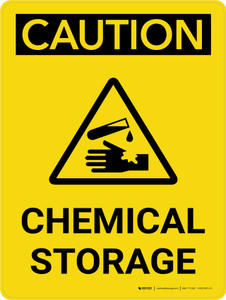 Caution: Chemical Storage Portrait With Icon - Wall Sign