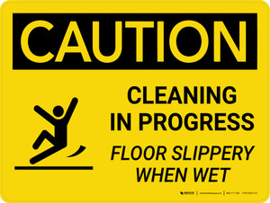 Caution: Cleaning in Progress Floor Slippery Landscape With Icon - Wall Sign