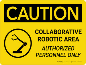 Caution: Collaborative Robotic Area Landscape With Icon - Wall Sign