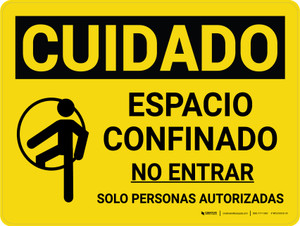 Caution: Confined Space Do Not Enter Spanish Landscape With Icon - Wall Sign