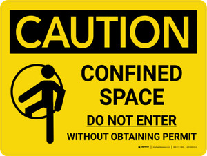 Caution: Confined Space Do Not Enter Without Obtaining Permit Landscape With Icon - Wall Sign