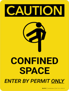 Caution: Confined Space Enter By Permit Only Portrait With Icon - Wall Sign