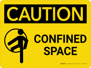 Caution: Confined Space Landscape With Icon - Wall Sign