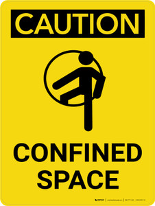 Caution: Confined Space Portrait With Icon - Wall Sign