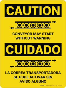 Caution: Conveyor May Start Without Warning Bilingual Spanish With Icons - Wall Sign