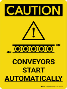 Caution: Conveyors Start Automatically Portrait With Icon - Wall Sign