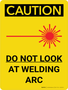 Caution: Do Not Look At Welding Arc Portrait With Icon - Wall Sign