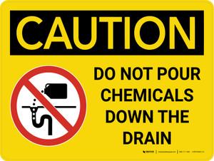 Caution: Do Not Pour Chemicals Down Drain Landscape - Wall Sign