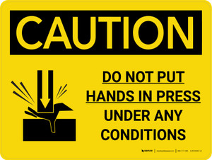 Caution: Do Not Put Hands in Press Under Any Conditions Landscape With Icon - Wall Sign
