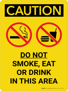 Caution: Do Not Smoke Eat Drink In This area Portrait With Icons - Wall Sign