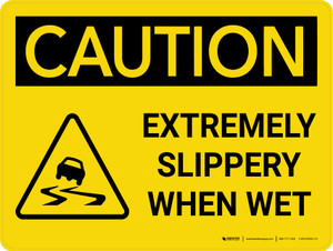 Caution: Extremely Slippery When Wet Landscape With Icon - Wall Sign