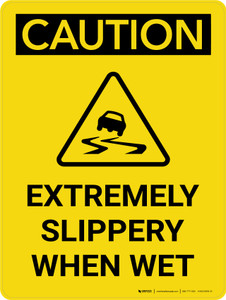 Caution: Extremely Slippery When Wet Portrait With Icon - Wall Sign