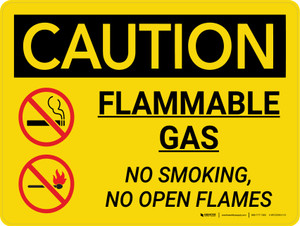 Caution: Flammable Gas No Smoking Open Flames Landscape With Icons - Wall Sign