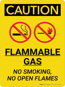 Caution: Flammable Gas No Smoking Open Flames Portrait With Icons - Wall Sign
