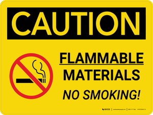 Caution: Flammable Materials No Smoking Landscape With Icon - Wall Sign