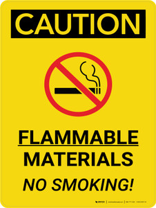 Caution: Flammable Materials No Smoking Portrait With Icon - Wall Sign