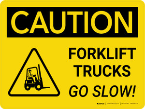 Caution: Forklift Trucks Go Slow Landscape With Icon - Wall Sign