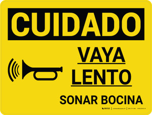 Caution: Go Slow Sound Horn Spanish Landscape With Icon - Wall Sign