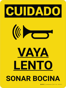 Caution: Go Slow Sound Horn Spanish Portrait With Icon - Wall Sign
