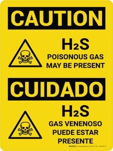 Caution: H2S Poisonous Gas May Be Present Bilingual Spanish With Icons - Wall Sign