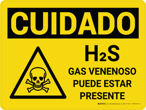 Caution: H2S Poisonous Gas May Be Present Spanish Landscape With Icon - Wall Sign