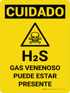 Caution: H2S Poisonous Gas May Be Present Spanish Portrait With Icon - Wall Sign