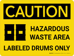Caution: Hazardous Waste Area Labeled Drums Landscape With Icons - Wall Sign