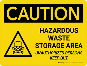 Caution: Hazardous Waste Storage Area Keep Out Landscape With Icon - Wall Sign
