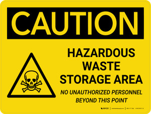Caution: Hazardous Waste Storage Area Landscape With Icon - Wall Sign