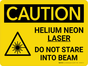 Caution: Helium Neon Laser Beam Do Not Stare Landscape With Icon - Wall Sign
