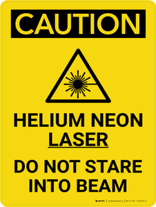 Caution: Helium Neon Laser Beam Do Not Stare Portrait With Icon - Wall Sign
