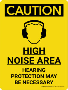 Caution: High Noise Area Hearing Protection Necessary Portrait With Icon - Wall Sign