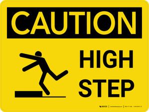 Caution: High Step Landscape With Icon - Wall Sign