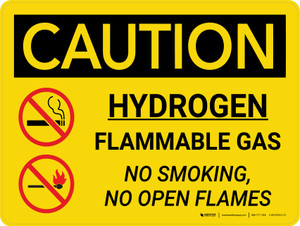 Caution: Hydrogen Flammable Gas No Smoking No Open Flames Landscape With Icons - Wall Sign