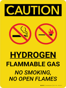 Caution: Hydrogen Flammable Gas No Smoking No Open Flames Portrait With Icons - Wall Sign