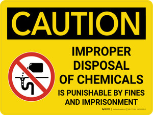 Caution: Improper Disposal of Chemicals Landscape With Icon - Wall Sign