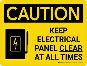Caution: Keep Electrical Panel Clear at all Times Landscape With Icon - Wall Sign